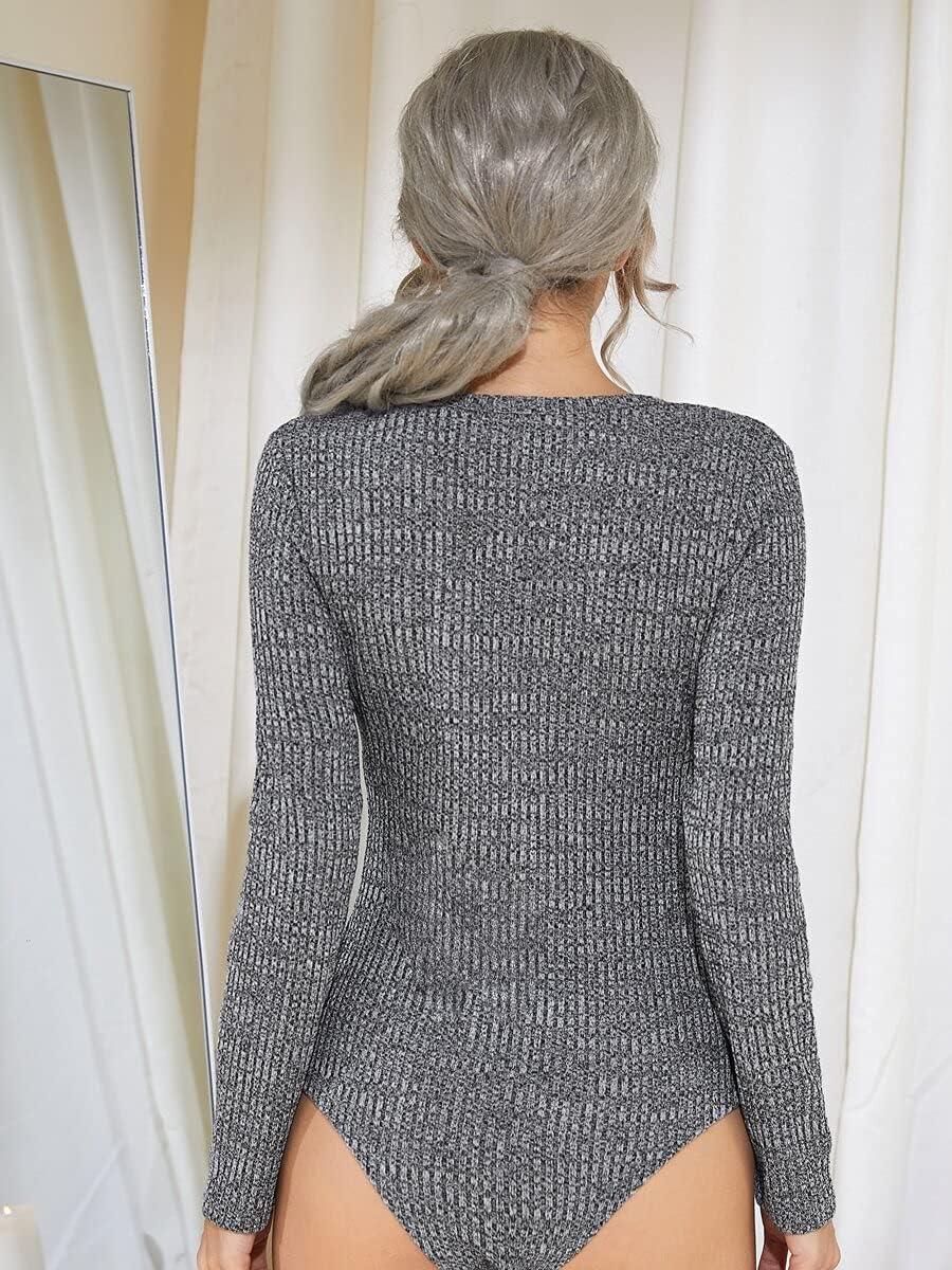 JYMBK Lace Jumpsuit Space Dye Button Front Slim Tee Bodysuit (Color : Grey, Size : L)
