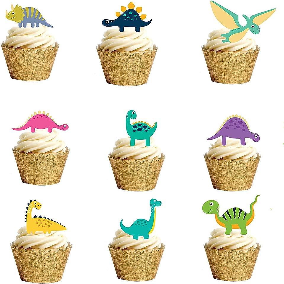 32pcs Dinosaur cupcake toppers edible Cute Cratoon Dinosaur cake decoration edible for the Dinosaur birthday party supplies