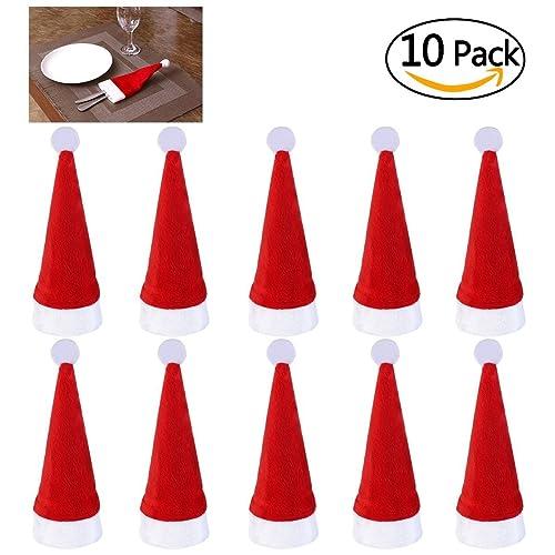 Runfon 10pcs Bolsita para Cubiertos,Cubiertos Tenedores Bolsa decoración de Mesa,Gorro navideño,
