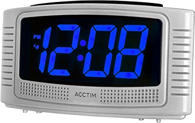 Acctim 14727 Vian Silver Mains Powered Alarm Clock with Blue LED Display by Acctim