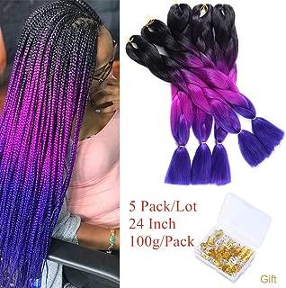 Ombre Kanekalon Braiding Hair 24 Inch Jumbo Braids Synthetic Braiding Hair Extensions 5Packs/Lot (Black-Purple-Blue)