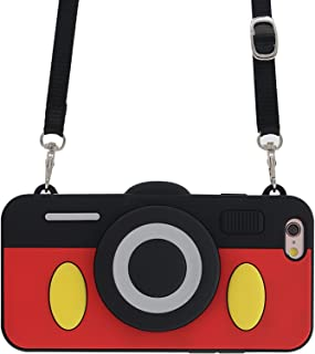 iPhone 6 Plus Case, iPhone 6s Plus Case, MC Fashion Cute 3D Mickey Mouse Camera Design Case with Adjustable Neck Strap, Shockproof and Protective Soft Silicone Phone Cover for Apple iPhone 6/6s Plus