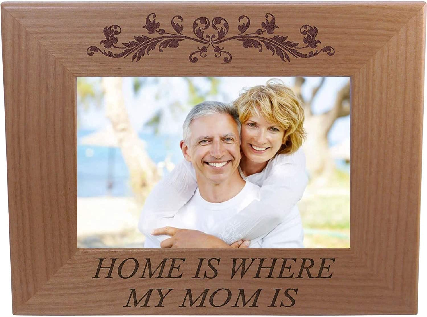 Home Seasonal Wrap入荷 is where my mom - Engraved Wood Natural Picture Alder 販売 Ha