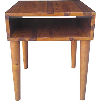 Design 59 inc Mid-Century Modern Acacia Hardwood Side/End Table/Night Stand, NO Tools Required