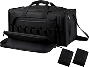 SoarOwl Tactical Gun Range Bag Shooting Duffle Bags for Handguns Pistols with Lockable Zipper and Heavy Duty Antiskid Feet