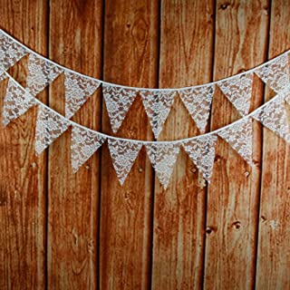 jijAcraft 3.2M/10Feet Lace Bunting Vintage Flag Banner Pennant Garland Fabric Triangle Flags Lovely Cloth Shabby Chic Decoration for Retro Wedding Birthday Parties (Lace)