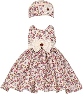 73561bd51 Baby Girls Burgundy Floral Satin Bow Special Occasion Easter Dress Hat 6-24M