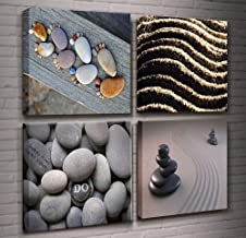 Summer Zen Theme Art 4 Piece Modern Giclee Canvas Picture Sea Beach Stone Sand Daisy Spa Canvas Prints Contemporary Frame Seascape Paintings on Canvas Wall Décor for Bedroom Home Decorations