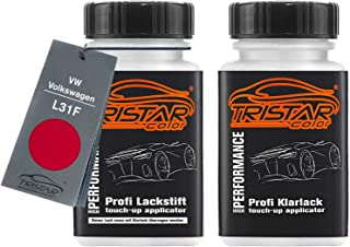 TRISTARcolor Autolack Lackstift Set für VW/Volkswagen L31F Iberischrot/Iberian Red Basislack Klarlack je 50ml