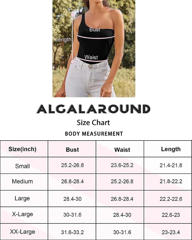 ALGALAROUND Women's One Shoulder Off Tank Tops Rib-Knit Sleeveless/Long Sleeve Bodycon T-Shirts