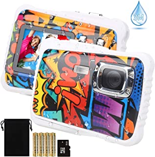 ?2019 Newest Kids Camera? Kids Camera, Waterproof Digital Camera for Children, 12MP HD Underwater Camcorder with 3M Waterproof, 2.0 Inch LCD Screen, 8X Digital Zoom, Flash Mic and 8G SD Card
