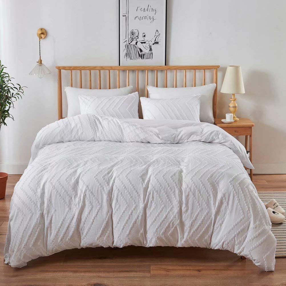 ZZIKO ラッピング無料 King Tufted Duvet Cover Solid Textured Set Bedding 限定モデル White R