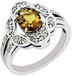 925 Sterling Silver Oval Diamond Whiskey Quartz Band Ring Size 7.00 Gemstone Fine Jewelry Gifts For Women For Her