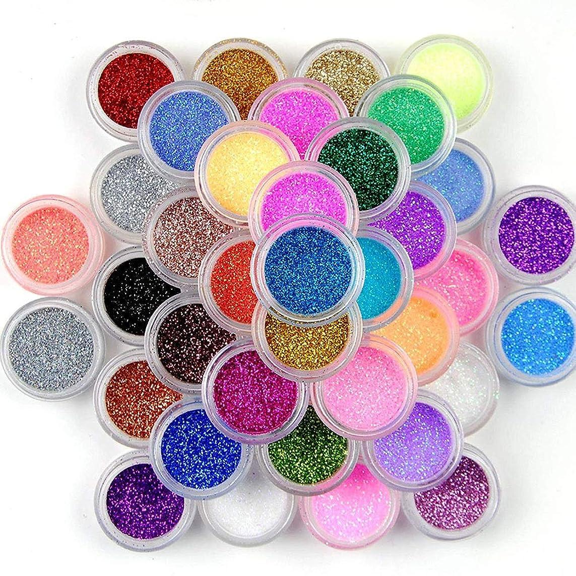 ラベル近々に対して45色グリッターネイルスパンコールパウダー、ネイルアートパウダーデコレーションカラーグリッターネイルパレットネイルズ顔料DIYデコレーションキット