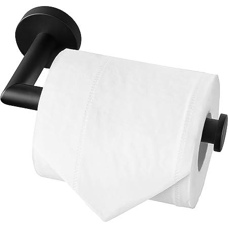 HITSLAM Porte Rouleau Papier Toilette Noir, Support Papier Toilette Mural pour Salle de Bain, Acier Inoxydable SUS 304, Derouleur Papier Toilette WC (Noir Mat)
