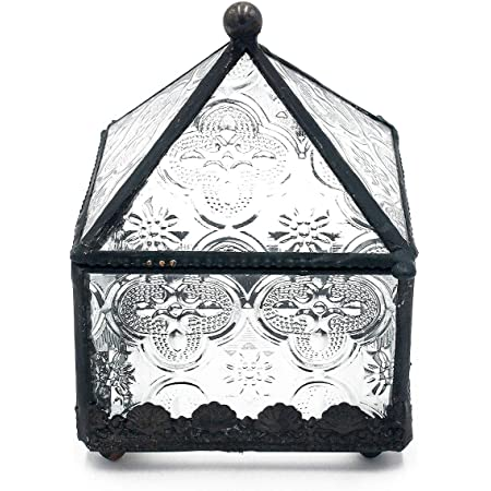 Funerom Vintage Glass Jewelry Box,Wedding Engagement Ring Dish DisplayTrinket Keepsake Box