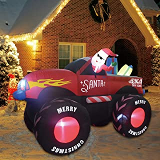 Best GOOSH 7 Foot Christmas Self Inflatable Trucks with Santa Clause Blow up Yard Car Santa Clause Truck Review
