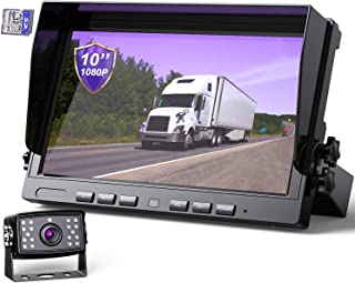 "eRapta Backup Camera with 10"" Larger Monitor for Truck RV semi Box 10 inch 1080P Dual Split Monitor with Recording Vehicle..."