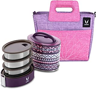 Vaya Tyffyn Wool Polished Stainless Steel Lunch Box, 1000 ml, 3 Containers with BentoBag - Purple