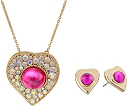 Heart Pendant & Stud Earrings Set