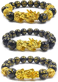 3 braccialetti Pi Xiu, Feng Shui in ossidiana nera, con placcatura in oro, motivo bestia sacra cinese Pi Xiu, attrae ricch...