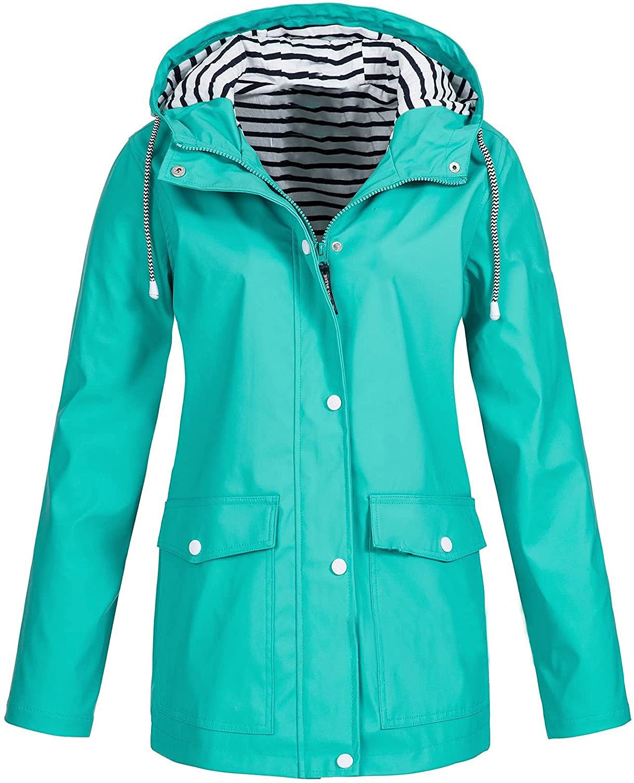 Solid Rain Jackets for Women Outdoor Plus Size Waterproof Hoodies Raincoat Windproof Winter Coat