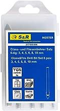 S&R Fliesenbohrer, Glasbohrer, Keramikbohrer Set, in Kunststoffbox 6 Stk: 3,4,5,6,8,10 mm