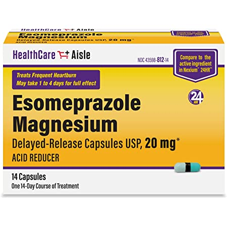 HealthCareAisle Esomeprazole Magnesium Delayed-Release Capsules, USP - Treats Frequent Heartburn - 20 mg, 14 Count