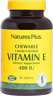NaturesPlus Vitamin E Chewable - 400 iu, 90 Vegetarian Tablets - Natural Carob Flavor - Healthy Cardiovascular Function, F...