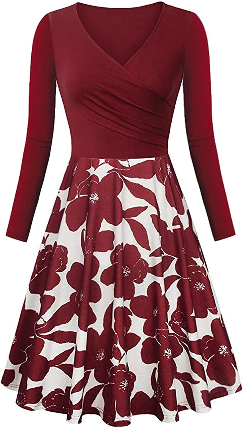 Oakland Mall Midi Dress with Long Lowest price challenge Sleeves fo Swing Casual Dresses Autumn