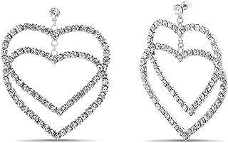 Steve Madden Rhinestone Heart Drop Earrings for Women