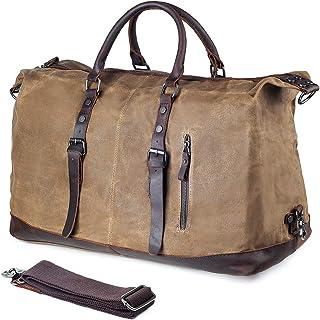 Canvas Duffle Bag P.KU.VDSL Canvas PU Leather Weekender Overnight Tote Bag Oversized Travel Handbag Duffels for Men Women