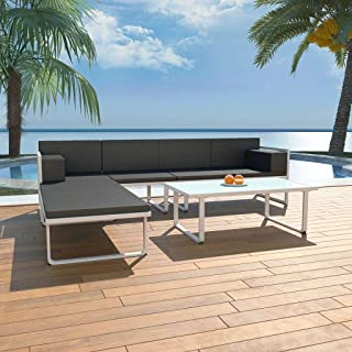 4 Piece Garden Lounge Set with Cushions Aluminium Black