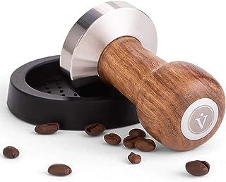 VIENESSO ® Ensemble de presse-café pour expresso - Design classique - En acier inoxydable et manche en bois véritable de q...