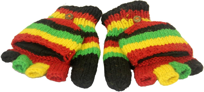 KayJayStyles Rasta Color Hand Knit 100% Wool Convertible Fingerless Mittens Nepal