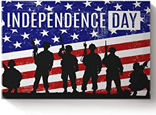 Arts Language Paint by Number Acrylic Kits for Adults Kids Independence Day Vintage American Flag Military Pictures DIY Oil Paintings Canvas Framed Wall Art Decor for Livingroom Bedroom 16x20in