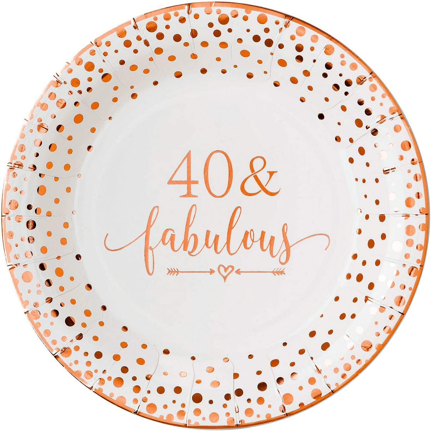 Crisky 40 Fabulous Disposable Plates Dec Brand new for Women Gorgeous Birthday 40th