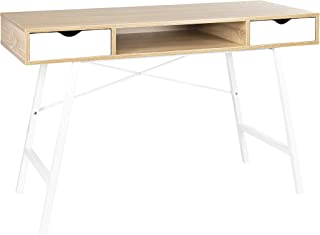 JJS Home Office Writing Desk with Drawers, Modern Computer Study Wooden Desk Table Laptop PC Workstation with Storage, White Oak