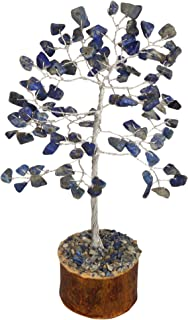 Crocon Lapis Lazuli Gemstone Money Tree Feng Shui Bonsai for Reiki Healing Chakra Stone Balancing Energy Generator Spiritual Home Interior Office Decor Size: 7-8 Inch