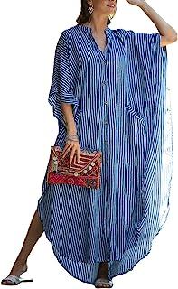 Women Stylish Plus Size Beach Shirt Dress Loose Button Up...