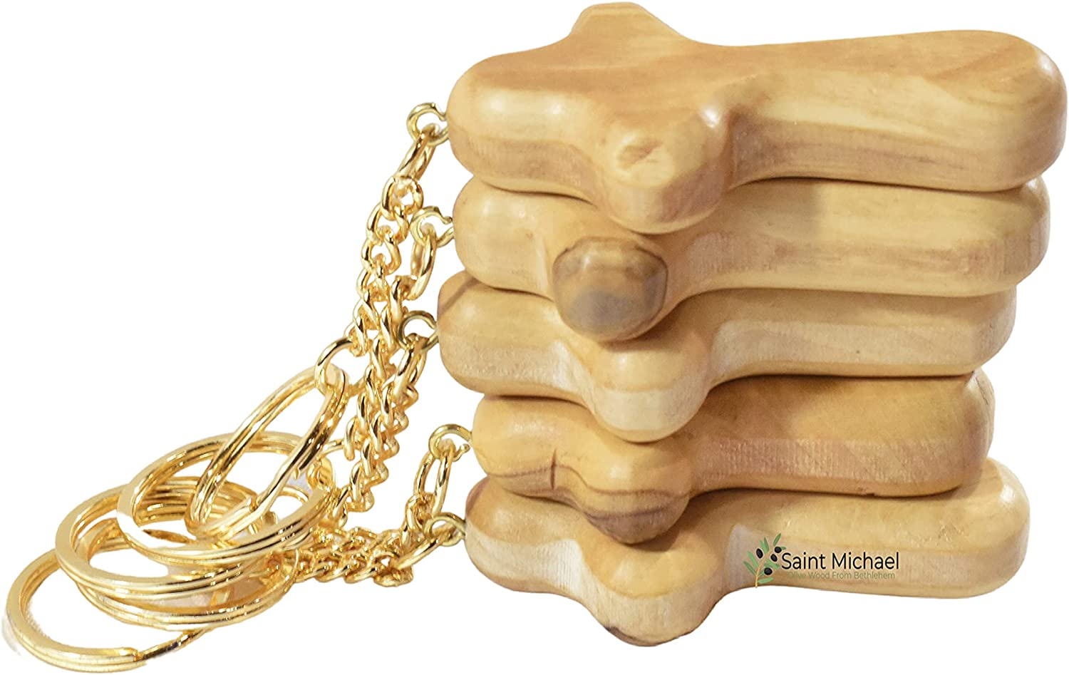Olive Wood Comfort Cross Keyring Hand Made in Bethlehem Holy Land Beautiful Gift for Fathers Day or Somebody You Love