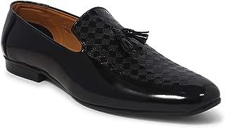 BIK BOK Men's White/Black Tassel Plain Mica Patent Synthetic Formal in Fashion Formal Moccasin Shoe for Men