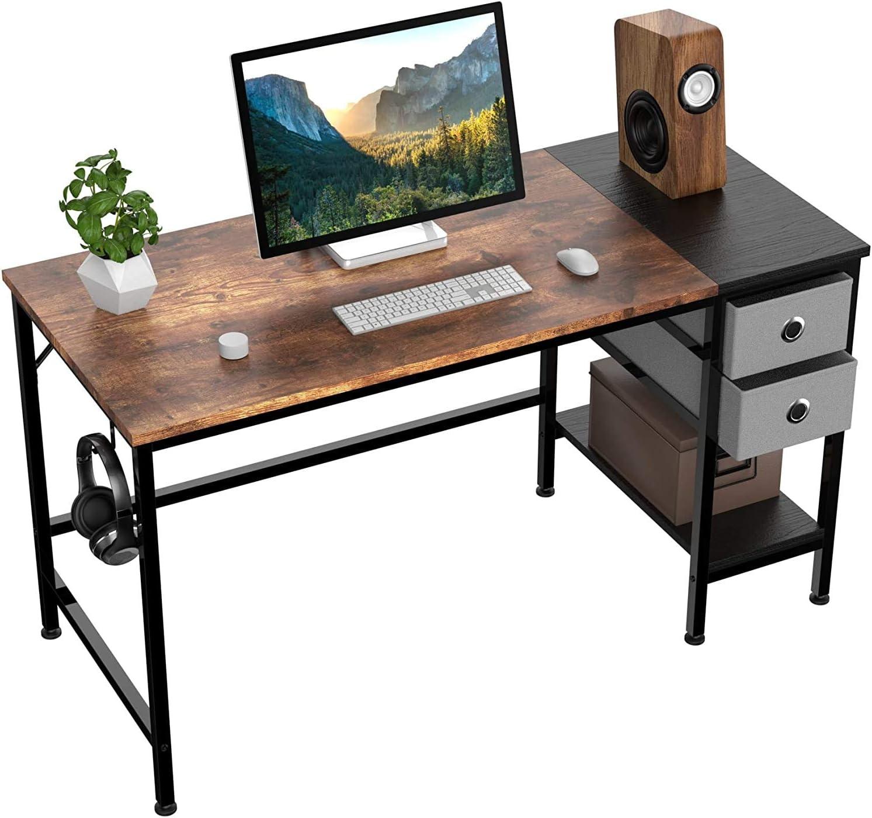 120x60x75cm Mesa para computadora port/átil con estantes Escritorio con caj/ón y Colgador para Auriculares HOMIDEC Escritorio de Computadora,Mesa de Ordenador para Estudiantes y Trabajadores