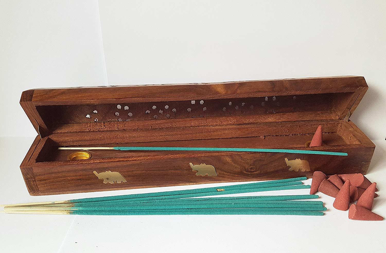 Joss Stick Cono de madera para incienso con caja para quemador de ...