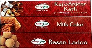 HIMALYA FRESH Authentic Indian Food Value Pack of 3 (1 box of Milk Cake, 14 oz - 1 box Kaju Anjeer Katli, 12 oz - 1 box Besan Ladoo, 12 oz) Indian Sweets With No Fillers Or Preservatives