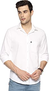 LEVIZO 100% Cotton Plain Solid Casual Regular Fit Full Sleeves Shirt for Men
