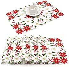 Best OurWarm 6pcs Embroidered Christmas Placemats, Red Poinsettia Placemats with Holly for Christmas Holiday Decorations, 11 x 17 Inch Christmas Table Mats Reviews