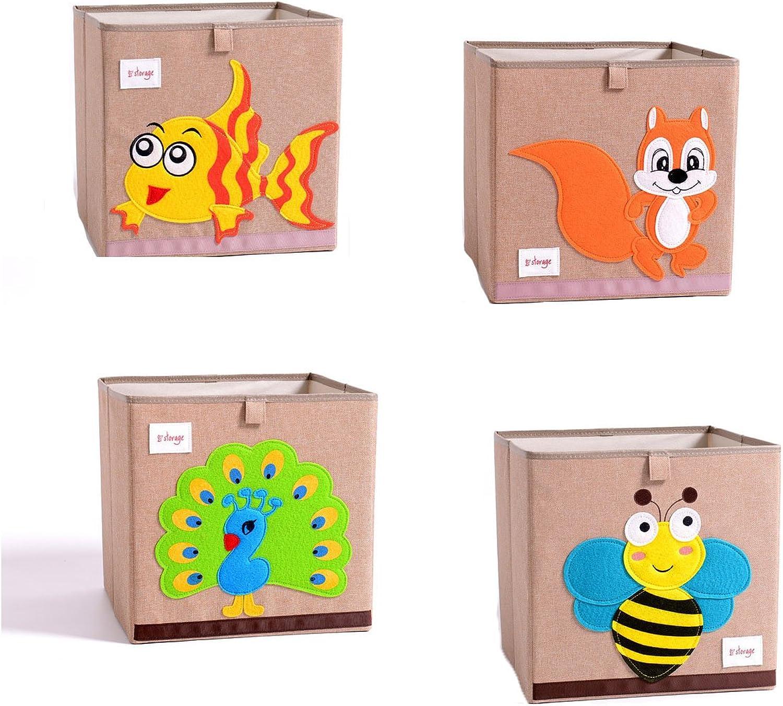 DODYMPS Foldable Animal Canvas Storage Toy Box Bin Cube Chest Basket Organizer for Kids, 13 inch (Bee)