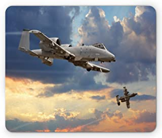Ambesonne Airplane Mouse Pad, Peacekeepers Mission Jet up International Flight Picture Aviation Theme Image, Rectangle No...