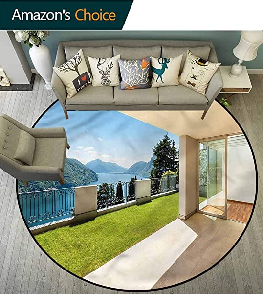 RUGSMAT Modern Modern Simple Round Rug Mountain Scenery Lake Sea Perfect For Any Room Floor Carpet Diameter 71